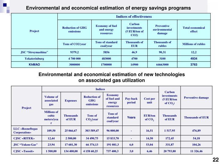 Environmental and economical estimation of new technologies