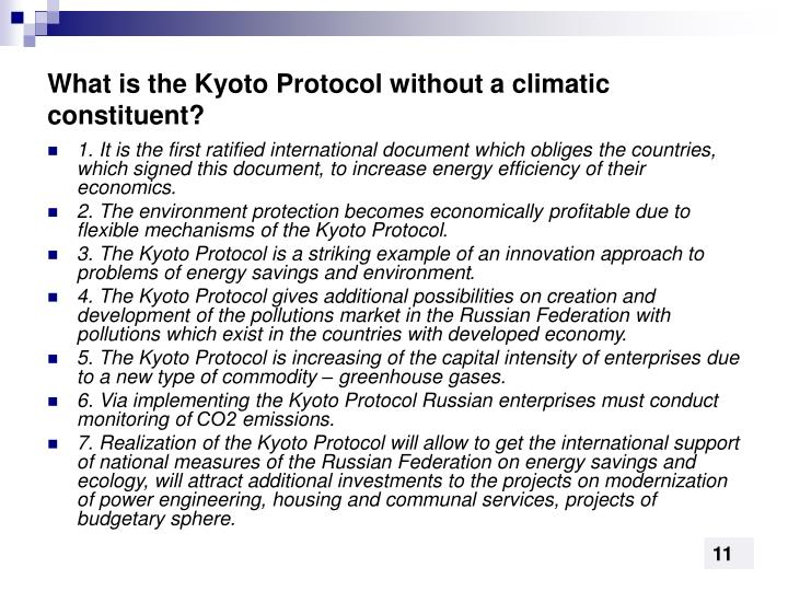 What is the Kyoto Protocol without a climatic constituent