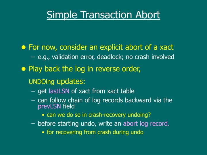 Simple Transaction Abort