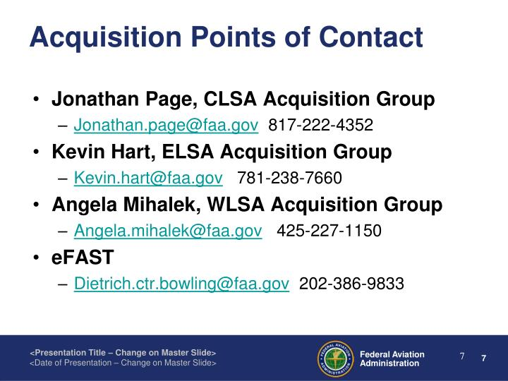 Acquisition Points of Contact