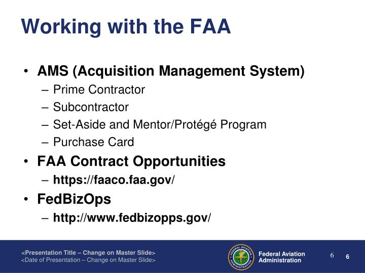 Working with the FAA