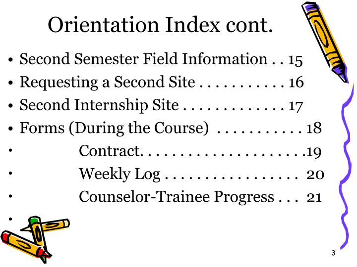 Orientation index cont