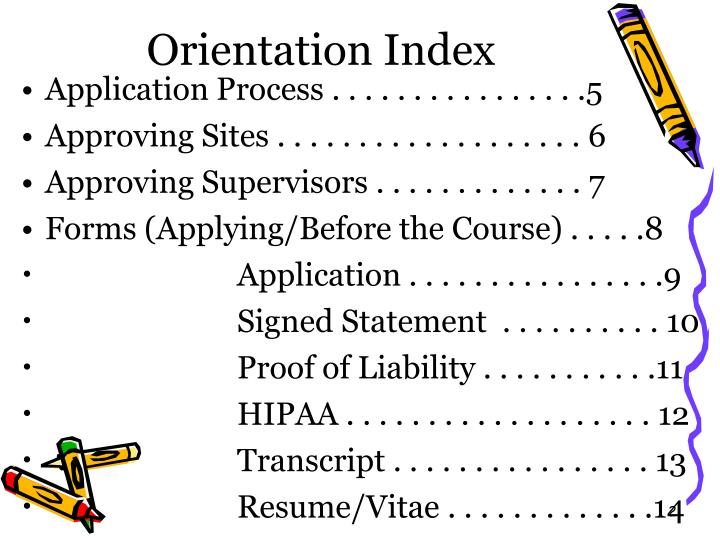 Orientation index
