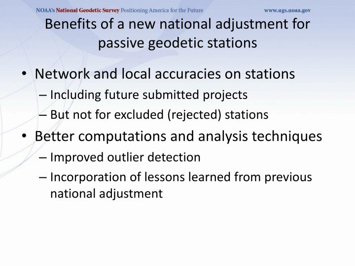 Benefits of a new national adjustment for passive geodetic stations