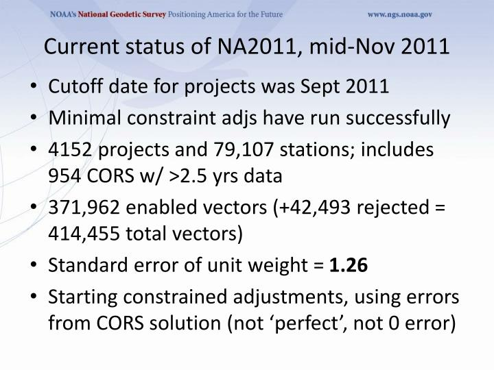 Current status of NA2011, mid-Nov 2011