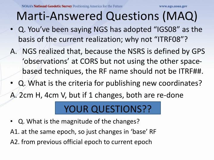 Marti-Answered Questions (MAQ)