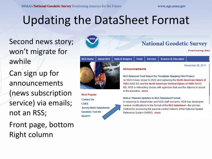 Updating the DataSheet Format