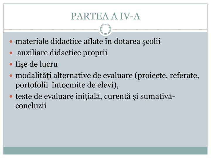 PARTEA A