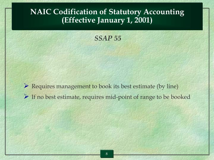 NAIC Codification of Statutory Accounting