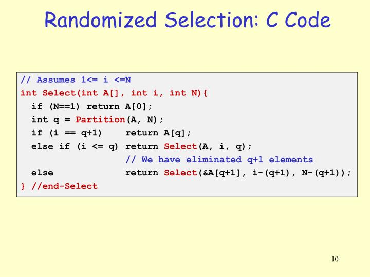 Randomized Selection: C Code