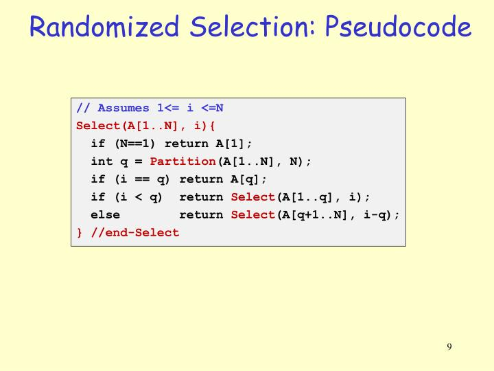 Randomized Selection: Pseudocode
