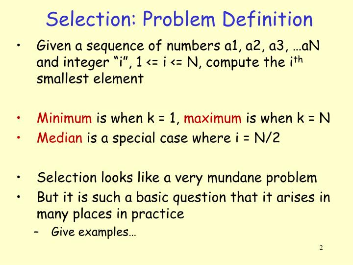 Selection: Problem Definition