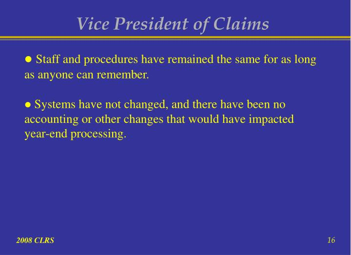 Vice President of Claims