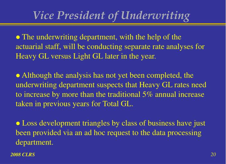 Vice President of Underwriting