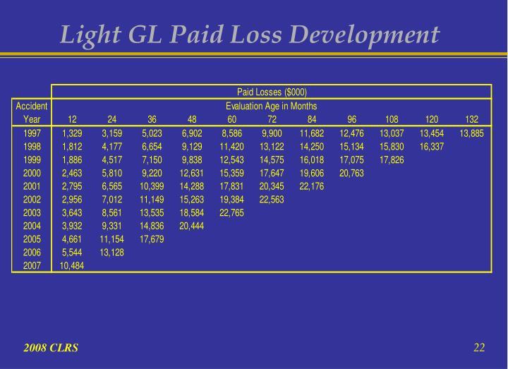 Light GL Paid Loss Development