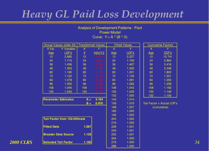 Heavy GL Paid Loss Development