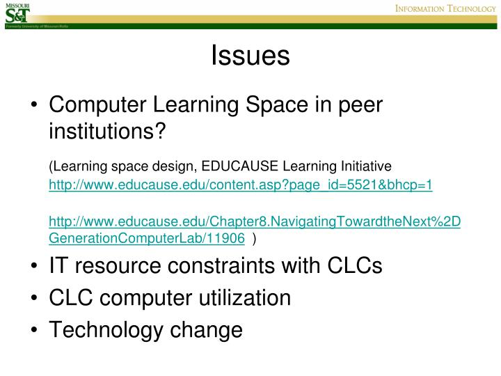 Computer Learning Space in peer institutions?