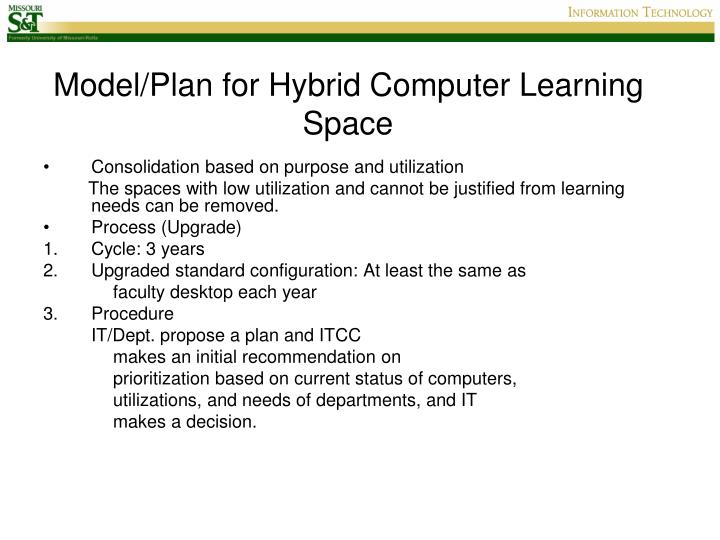 Model/Plan for Hybrid Computer Learning Space