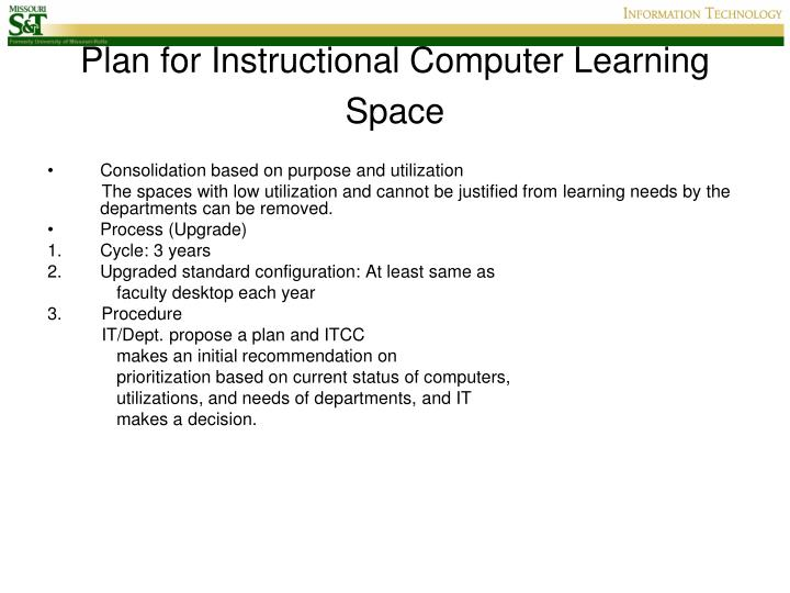 Plan for Instructional Computer Learning Space