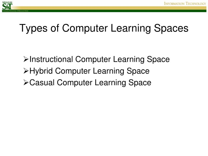 Types of Computer Learning Spaces