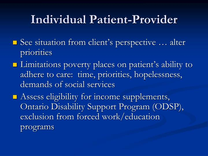Individual Patient-Provider