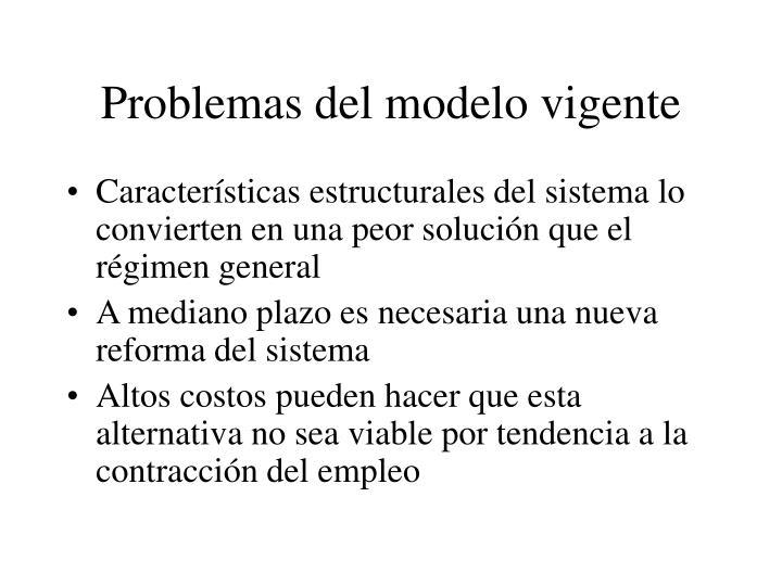 Problemas del modelo vigente