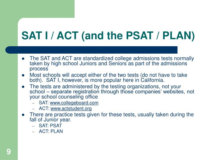 a description of the sat and act that is taken by high school seniors Find out admissions requirements for mit, including gpa requirements and sat, act, and application requirements.