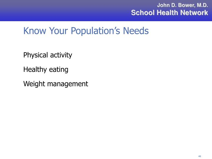 Know Your Population's Needs