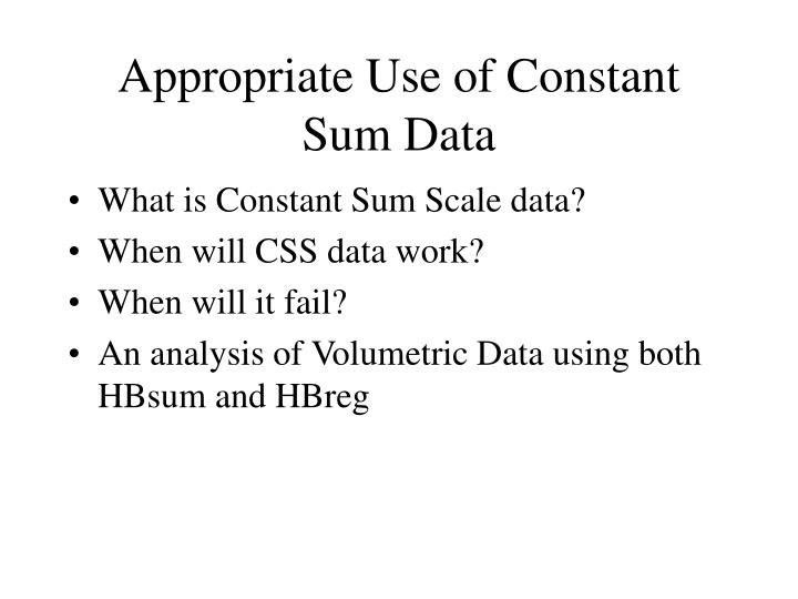 Appropriate use of constant sum data1