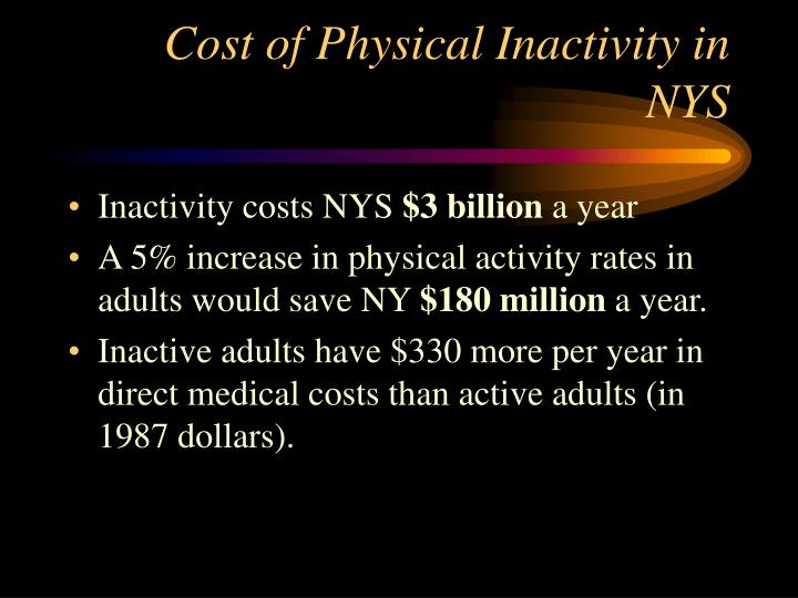 Cost of Physical Inactivity in NYS