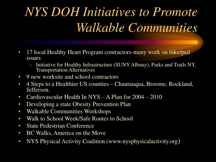 NYS DOH Initiatives to Promote Walkable Communities