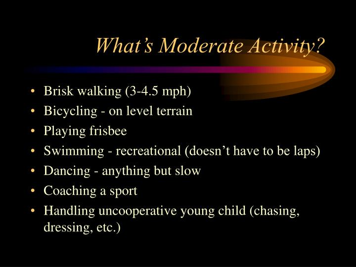 What's Moderate Activity?