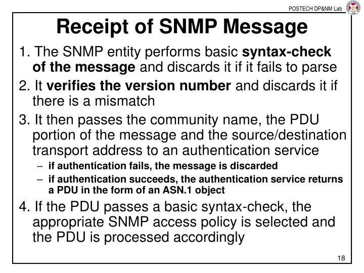 Receipt of SNMP Message