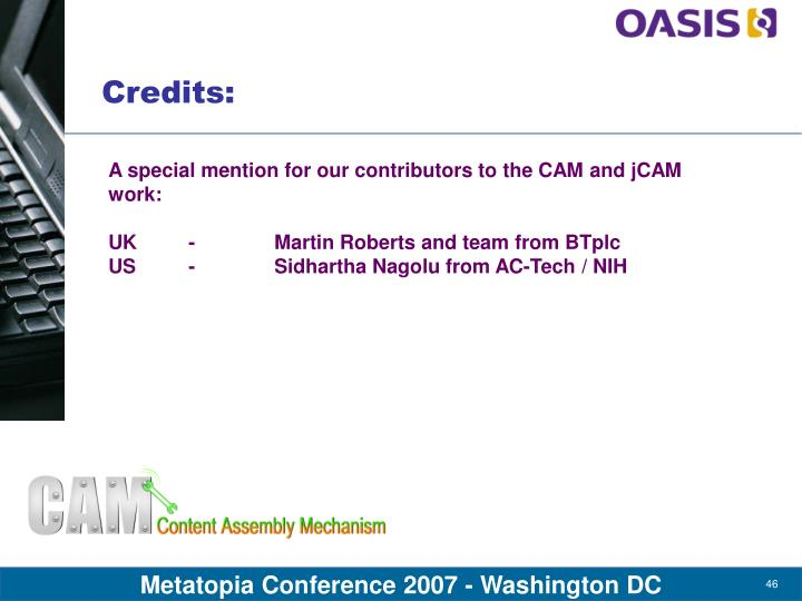 A special mention for our contributors to the CAM and jCAM work: