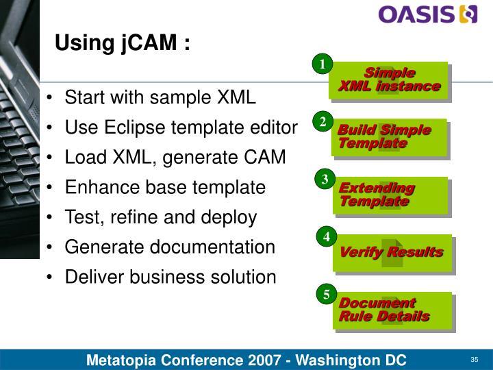 Using jCAM :