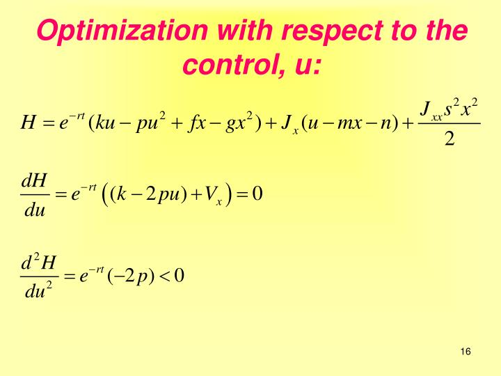 Optimization with respect to the control, u: