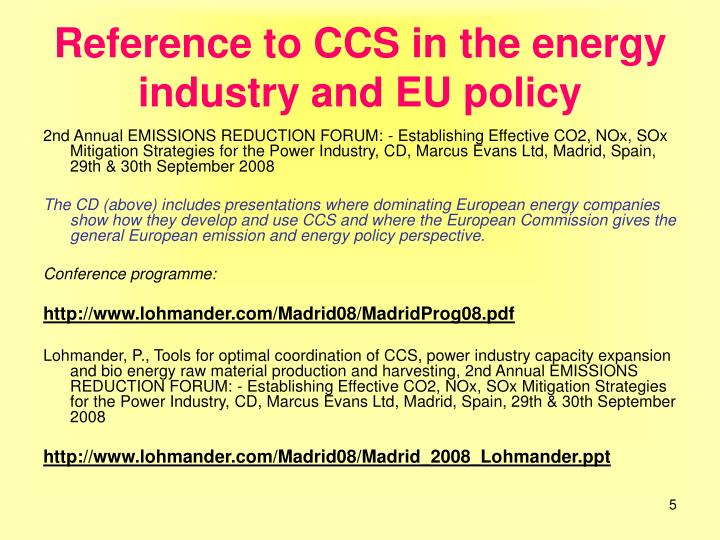 Reference to CCS in the energy industry and EU policy