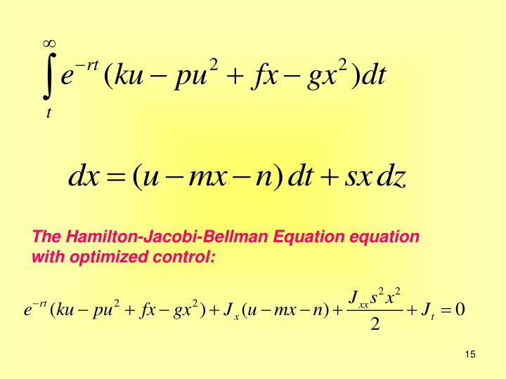 The Hamilton-Jacobi-Bellman Equation equation with optimized control: