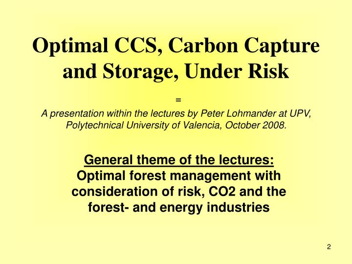 Optimal CCS, Carbon Capture and Storage, Under Risk