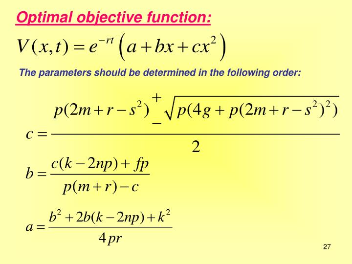Optimal objective function: