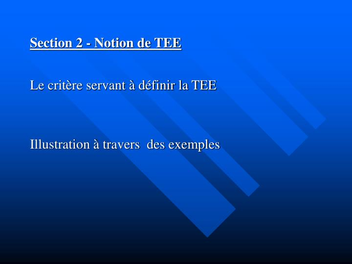 Section 2 - Notion de TEE