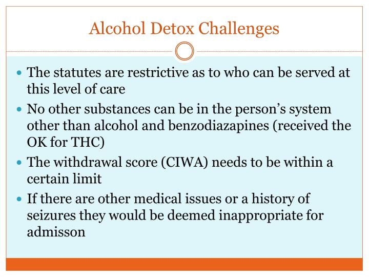 Alcohol Detox Challenges