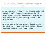 care center admission process for hospitals