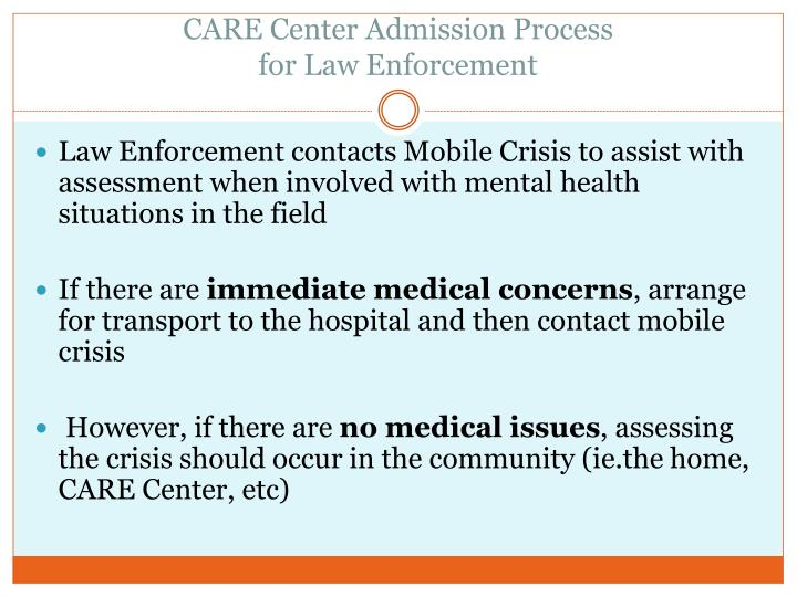 CARE Center Admission Process