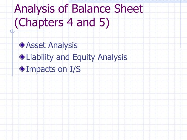 Analysis of Balance Sheet