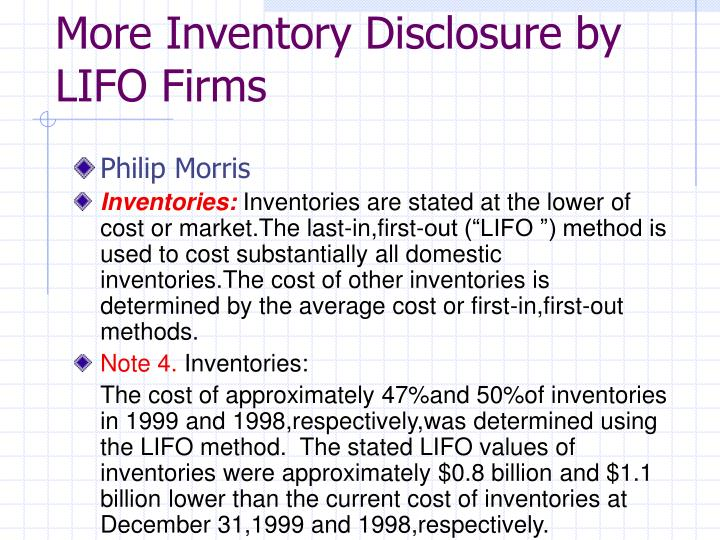 More Inventory Disclosure by LIFO Firms