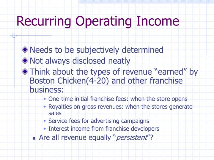 Recurring Operating Income