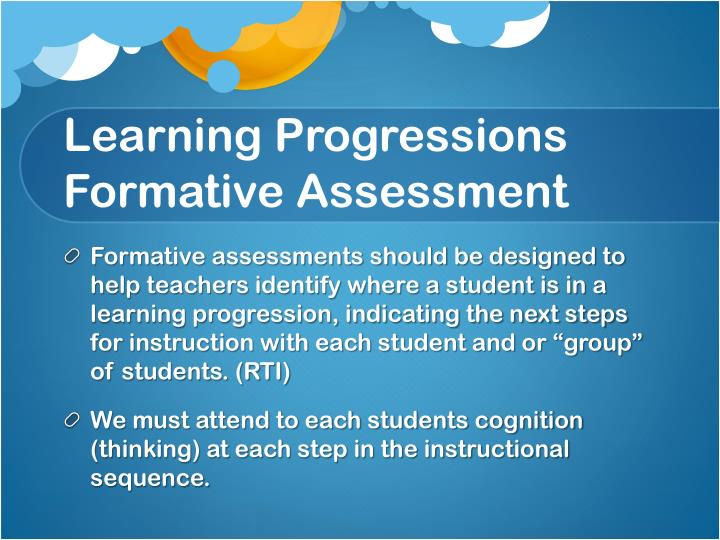 Learning Progressions Formative Assessment