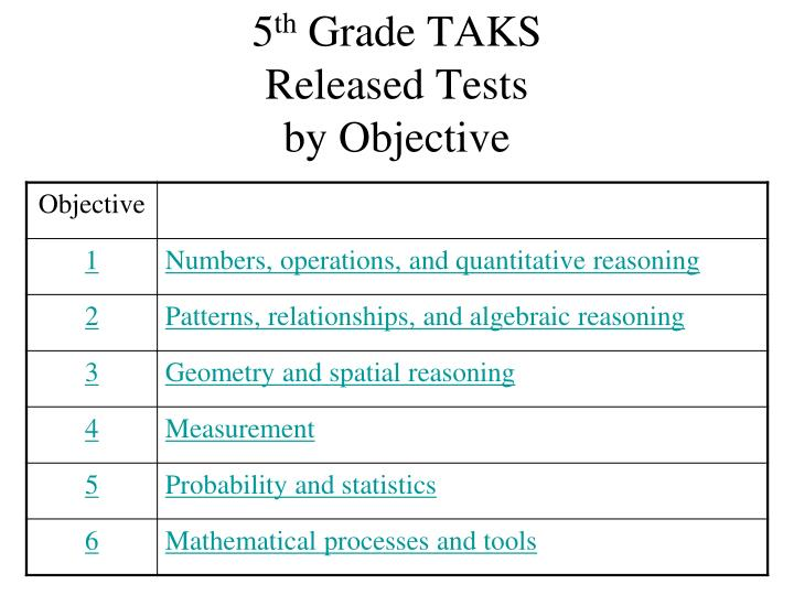 5 th grade taks released tests by objective