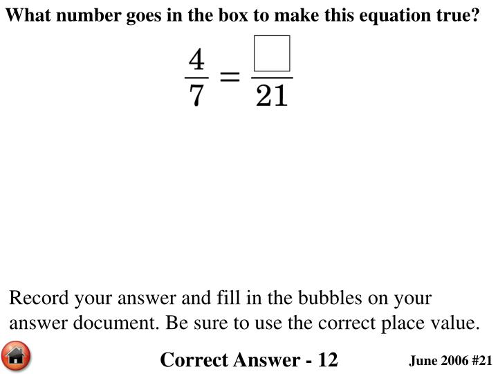 What number goes in the box to make this equation true?